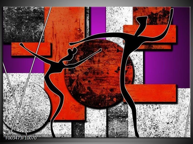 Foto canvas schilderij Abstract | Rood, Zwart, Paars