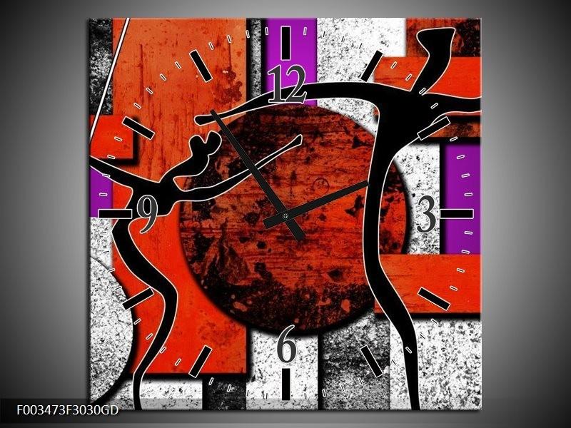 Wandklok op Glas Abstract | Kleur: Rood, Zwart, Paars | F003473CGD