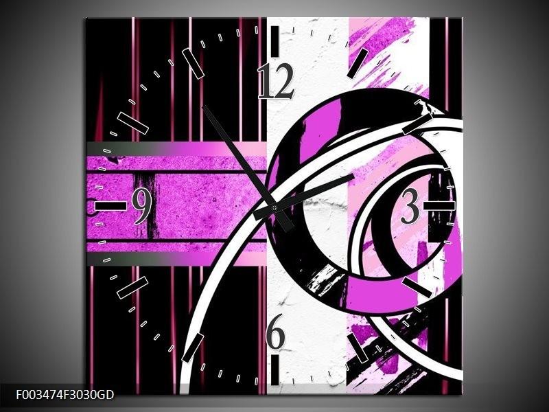 Wandklok op Glas Abstract | Kleur: Paars, Zwart, Wit | F003474CGD