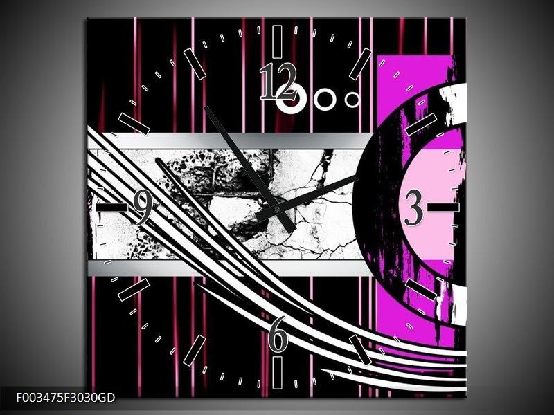 Wandklok op Glas Abstract | Kleur: Paars, Zwart, Wit | F003475CGD