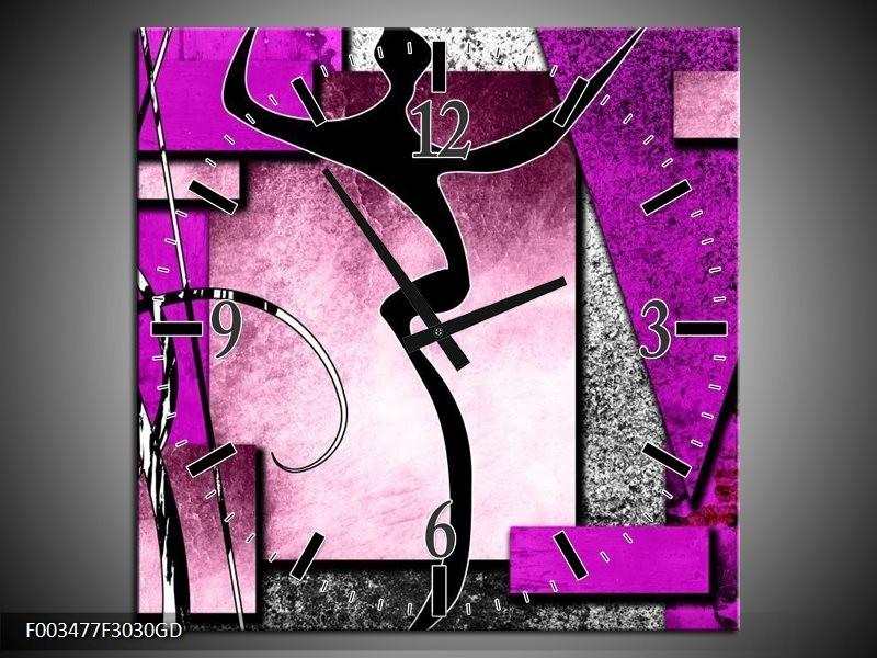 Wandklok op Glas Abstract   Kleur: Paars, Zwart, Wit   F003477CGD