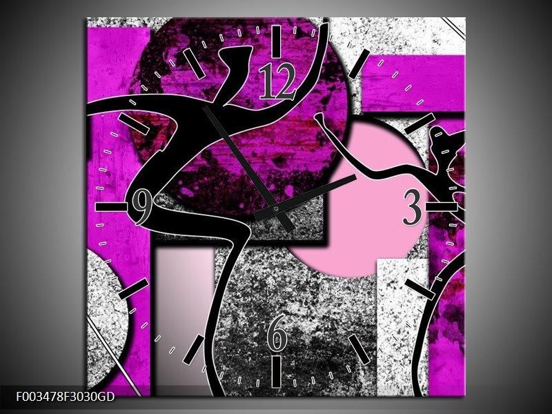 Wandklok op Glas Abstract | Kleur: Paars, Zwart, Wit | F003478CGD