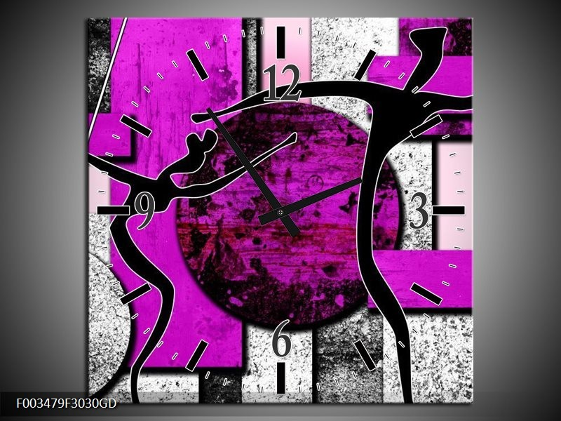 Wandklok op Glas Abstract   Kleur: Paars, Zwart, Wit   F003479CGD