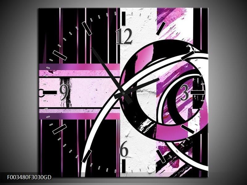 Wandklok op Glas Abstract | Kleur: Paars, Zwart, Wit | F003480CGD