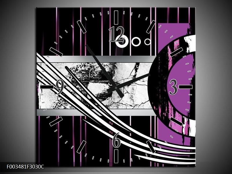 Wandklok op Canvas Abstract | Kleur: Paars, Zwart, Wit | F003481C