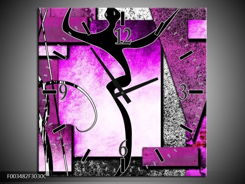 Wandklok op Canvas Abstract   Kleur: Paars, Zwart, Wit   F003482C