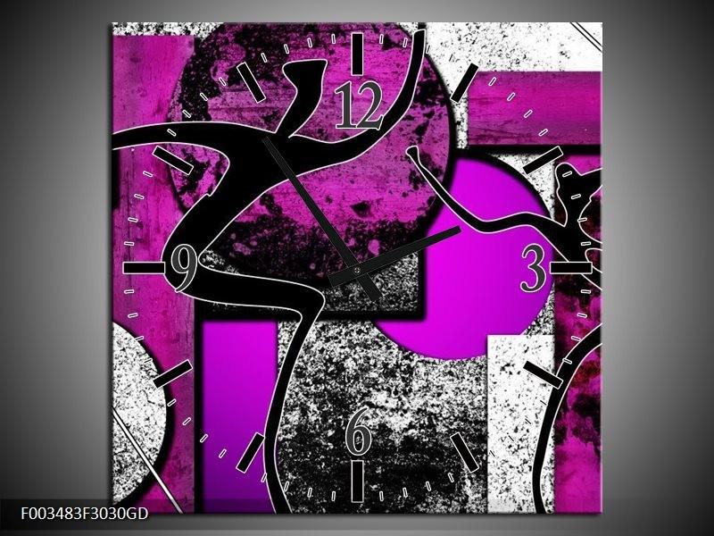 Wandklok op Glas Abstract | Kleur: Paars, Zwart, Wit | F003483CGD