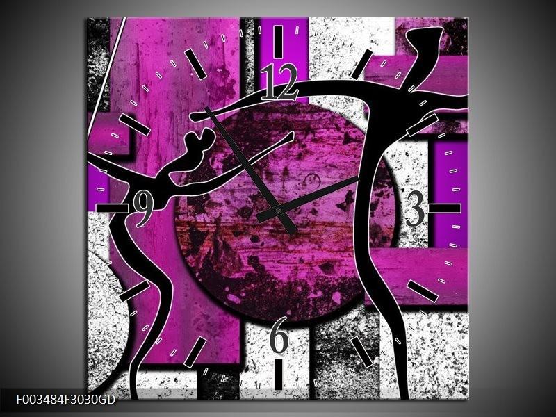 Wandklok op Glas Abstract | Kleur: Paars, Zwart, Wit | F003484CGD