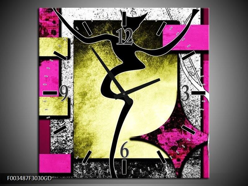 Wandklok op Glas Abstract | Kleur: Paars, Groen, Wit | F003487CGD