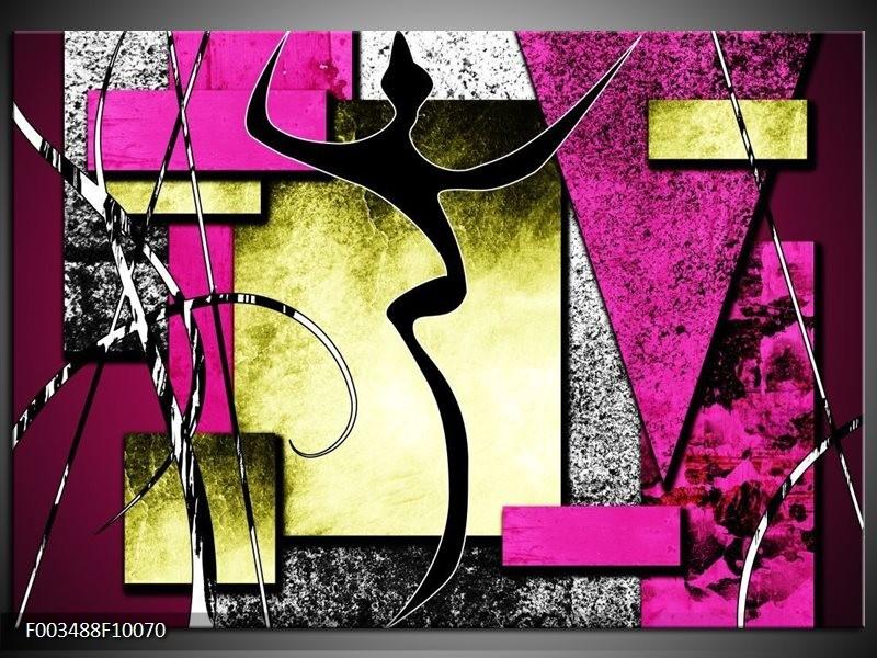 Glas schilderij Abstract | Paars, Groen, Wit