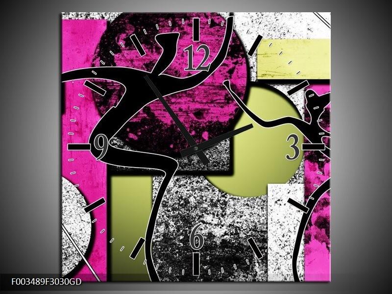 Wandklok op Glas Abstract   Kleur: Paars, Groen, Wit   F003489CGD