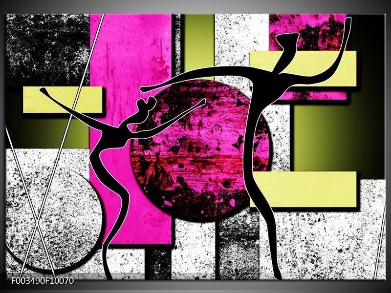 Foto canvas schilderij Abstract | Paars, Groen, Wit