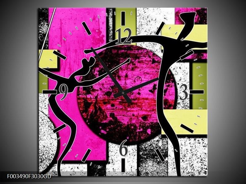 Wandklok op Glas Abstract | Kleur: Paars, Groen, Wit | F003490CGD