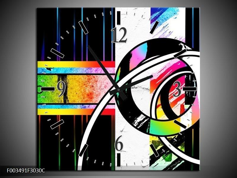 Wandklok op Canvas Abstract | Kleur: Blauw, Rood, Geel | F003491C
