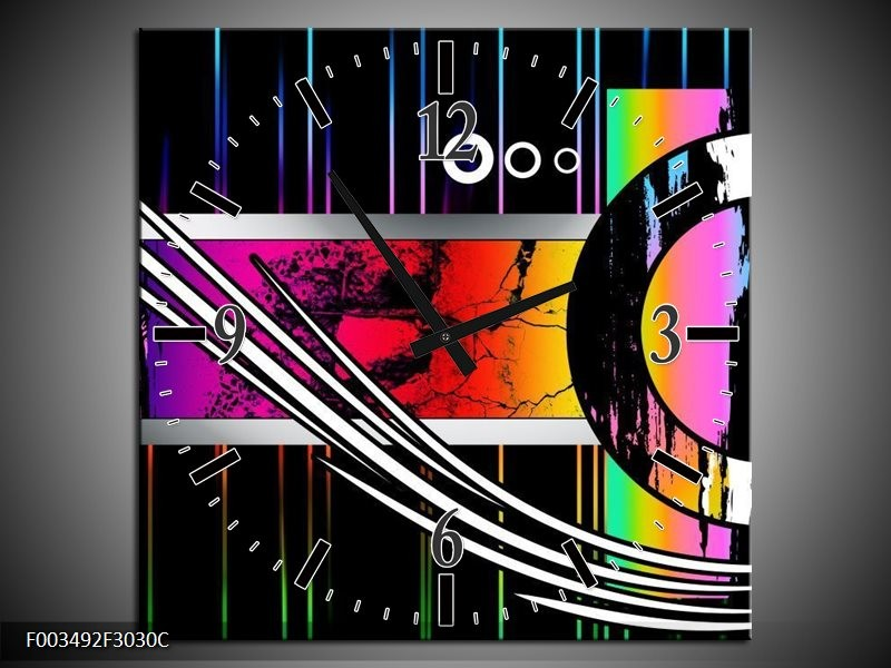 Wandklok op Canvas Abstract | Kleur: Paars, Rood, Geel | F003492C