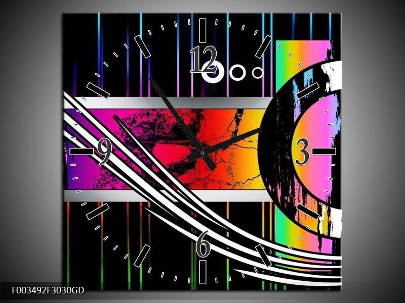 Wandklok op Glas Abstract | Kleur: Paars, Rood, Geel | F003492CGD