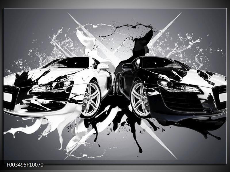 Glas schilderij Audi | Zwart, Wit, Grijs