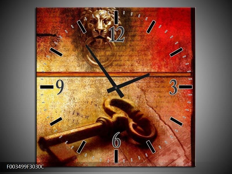 Wandklok op Canvas Abstract | Kleur: Rood, Bruin, Geel | F003499C