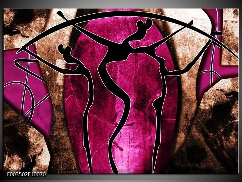 Glas schilderij Abstract | Roze, Zwart, Bruin