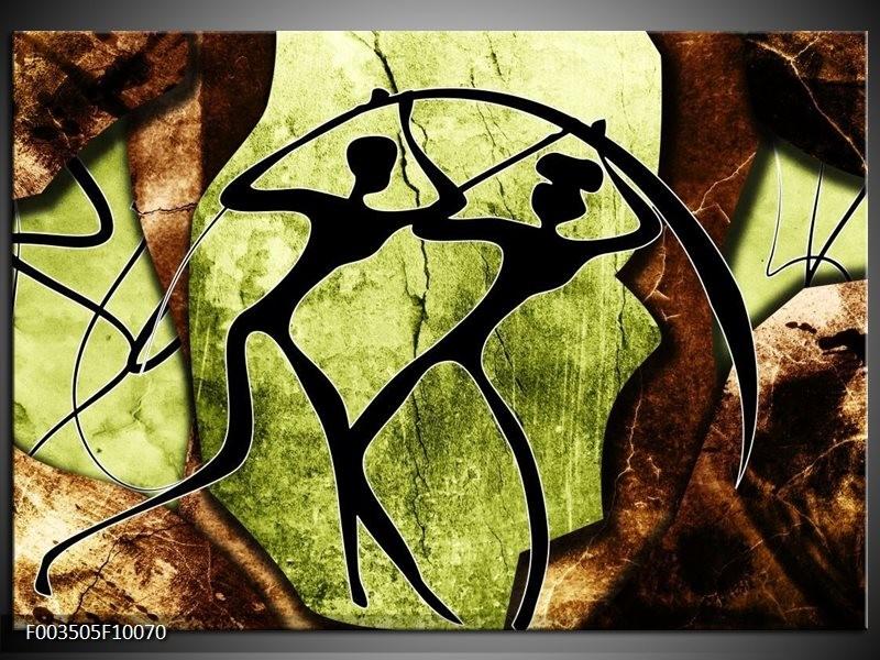 Glas schilderij Abstract | Groen, Bruin, Zwart