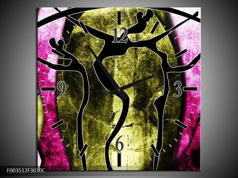 Wandklok op Canvas Abstract   Kleur: Roze, Zwart, Groen   F003512C