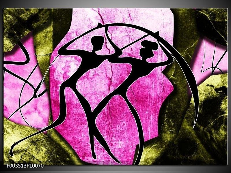 Foto canvas schilderij Abstract | Roze, Zwart, Groen