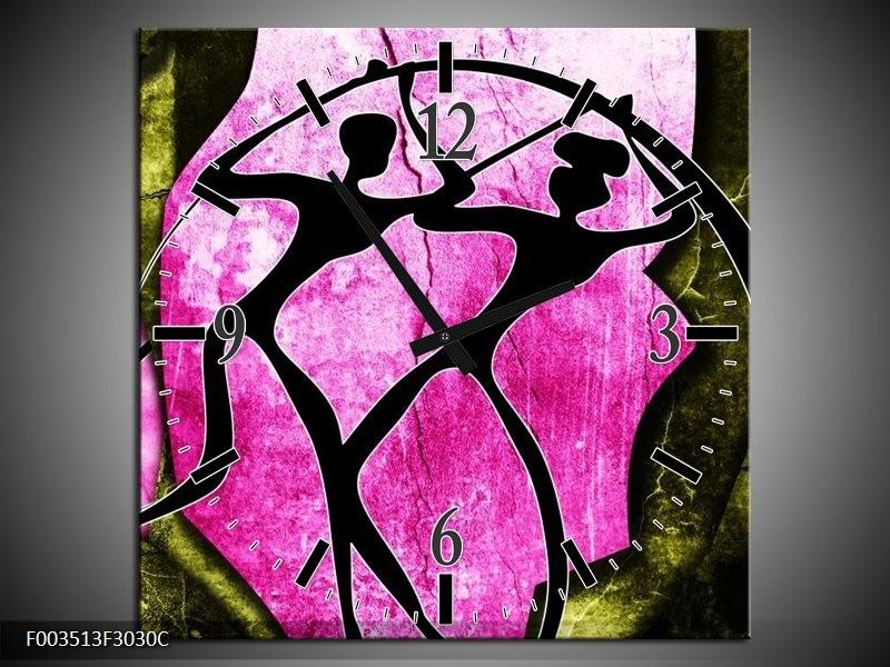 Wandklok op Canvas Abstract | Kleur: Roze, Zwart, Groen | F003513C
