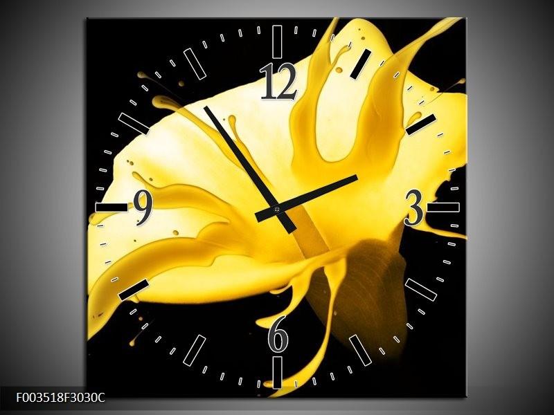 Wandklok op Canvas Bloem | Kleur: Geel, Zwart | F003518C
