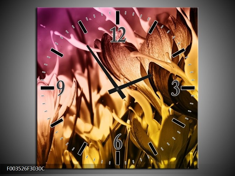 Wandklok op Canvas Bloem | Kleur: Bruin, Roze, Geel | F003526C