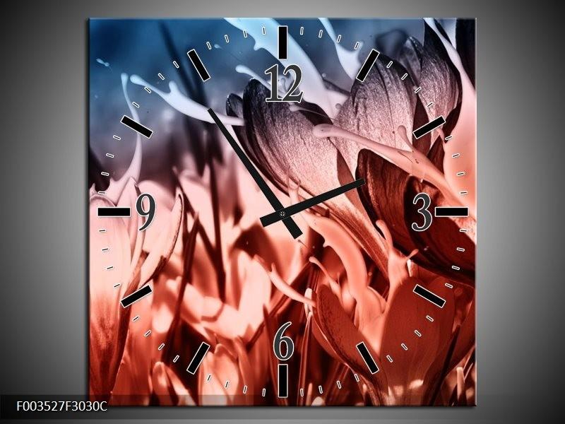 Wandklok op Canvas Bloem   Kleur: Rood, Blauw, Zwart   F003527C