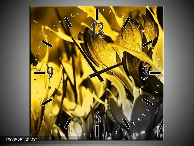 Wandklok op Canvas Bloem | Kleur: Geel, Grijs, Zwart | F003528C