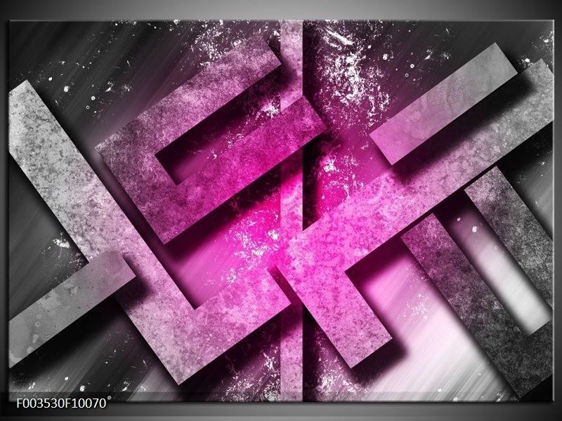 Glas schilderij Abstract | Roze, Grijs, Wit