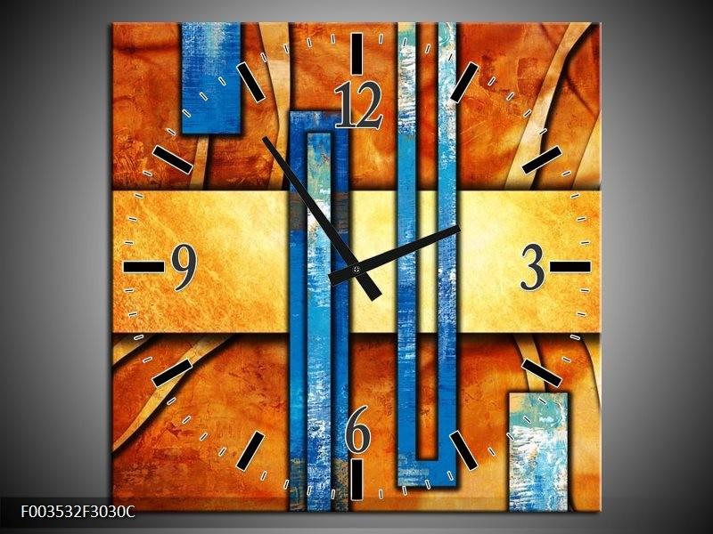 Wandklok op Canvas Abstract   Kleur: Blauw, Geel, Oranje   F003532C