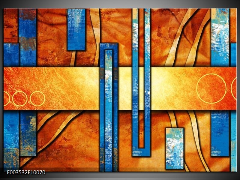 Glas schilderij Abstract | Blauw, Geel, Oranje