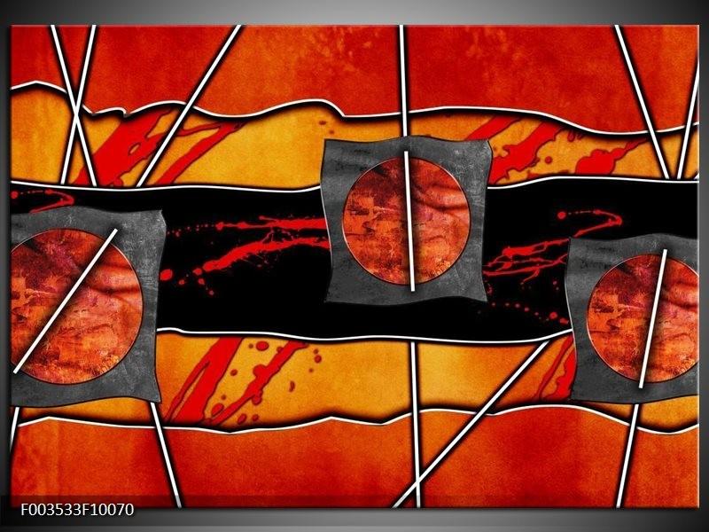 Glas schilderij Abstract | Rood, Grijs, Oranje
