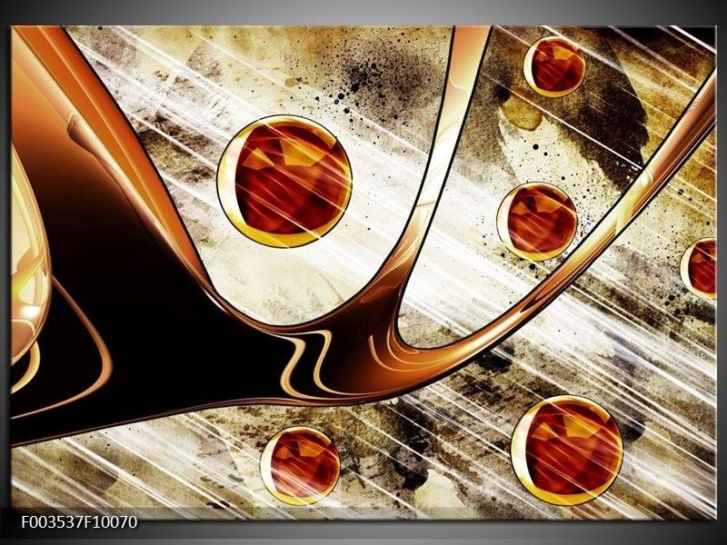 Glas schilderij Abstract   Geel, Bruin, Wit