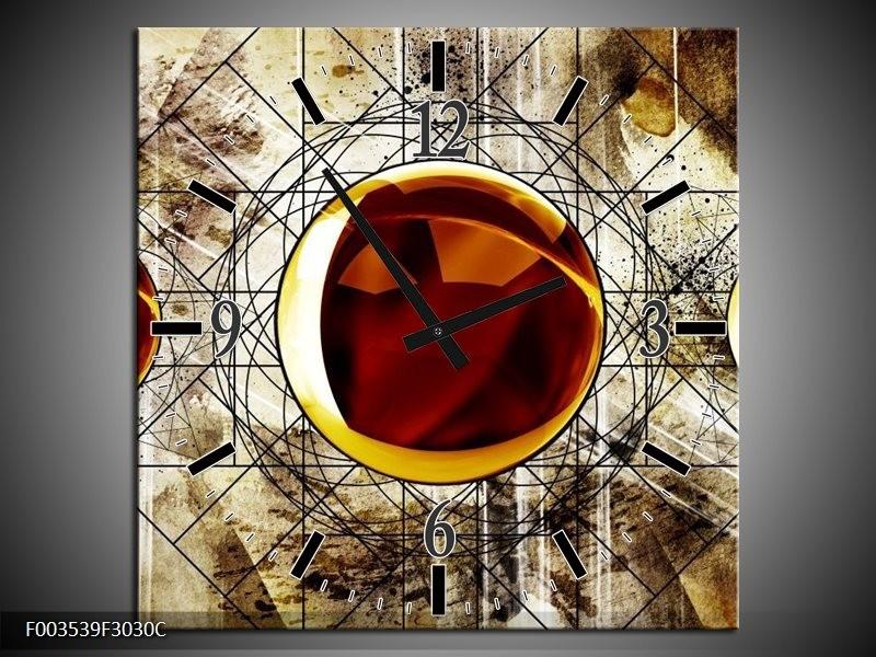 Wandklok op Canvas Abstract   Kleur: Geel, Bruin, Wit   F003539C