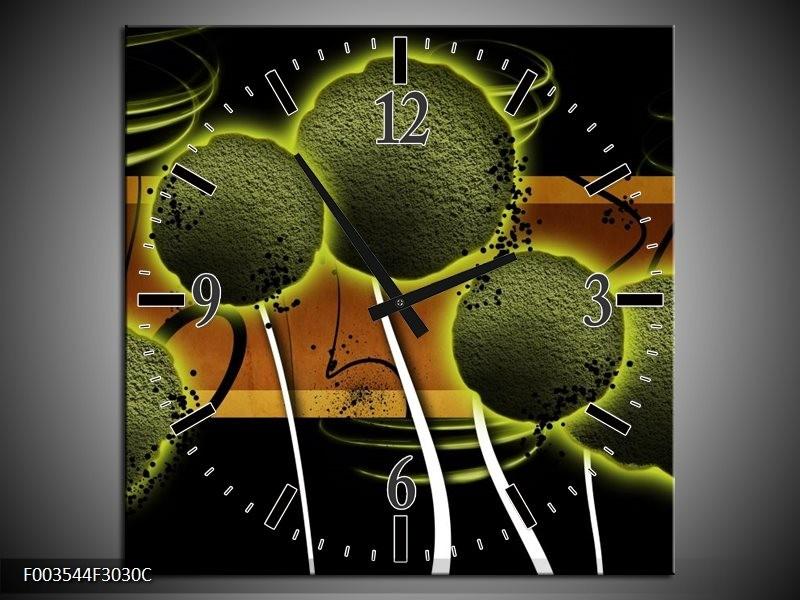 Wandklok op Canvas Bloem | Kleur: Groen, Bruin, Zwart | F003544C