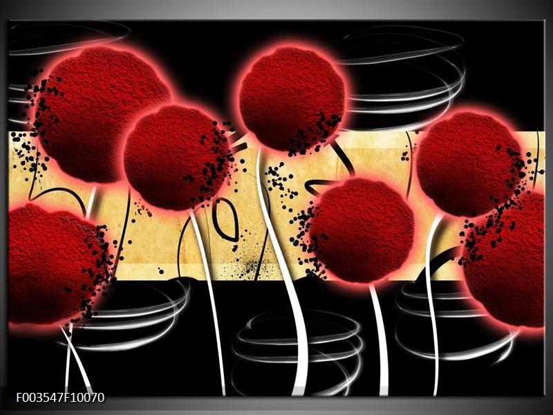 Glas schilderij Bloem | Rood, Geel, Zwart