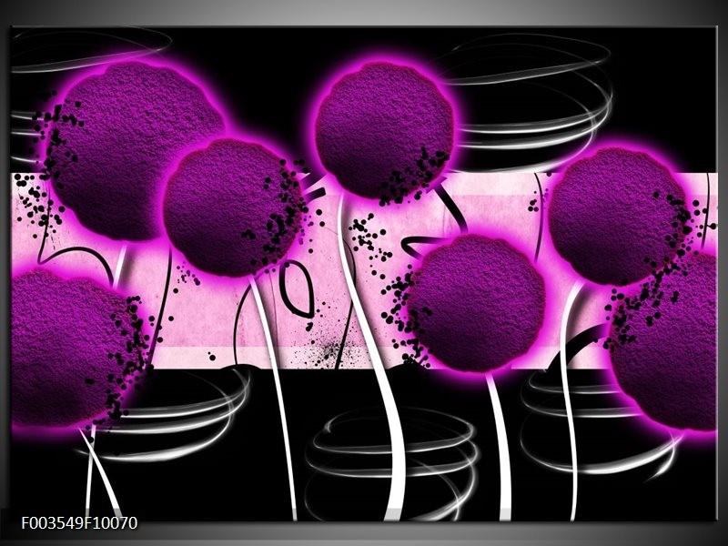 Glas schilderij Bloem | Paars, Zwart, Wit