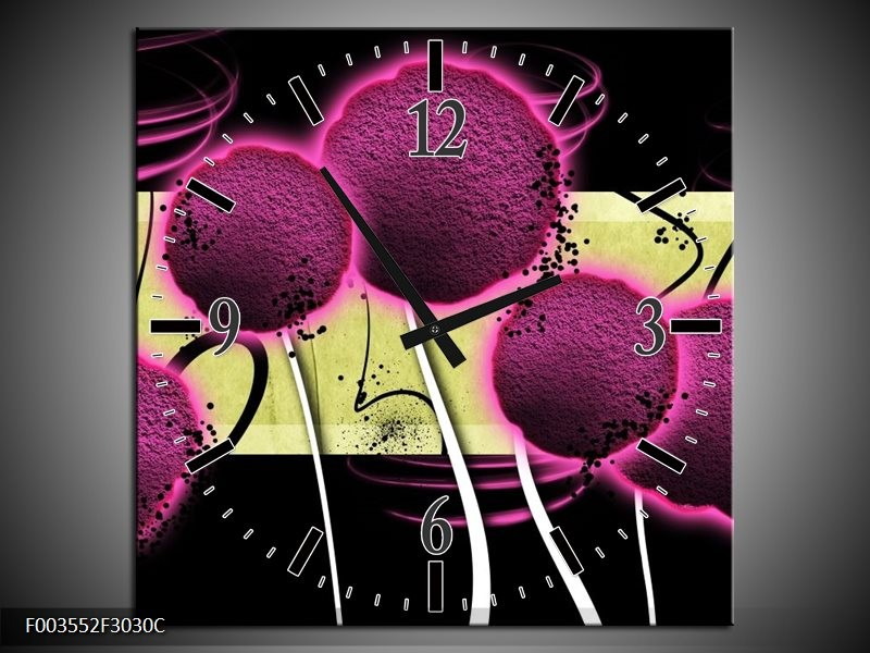 Wandklok op Canvas Bloem   Kleur: Roze, Geel, Wit   F003552C