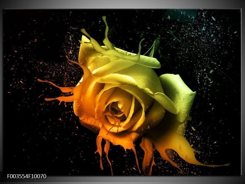 Foto canvas schilderij Roos | Oranje, Geel, Groen