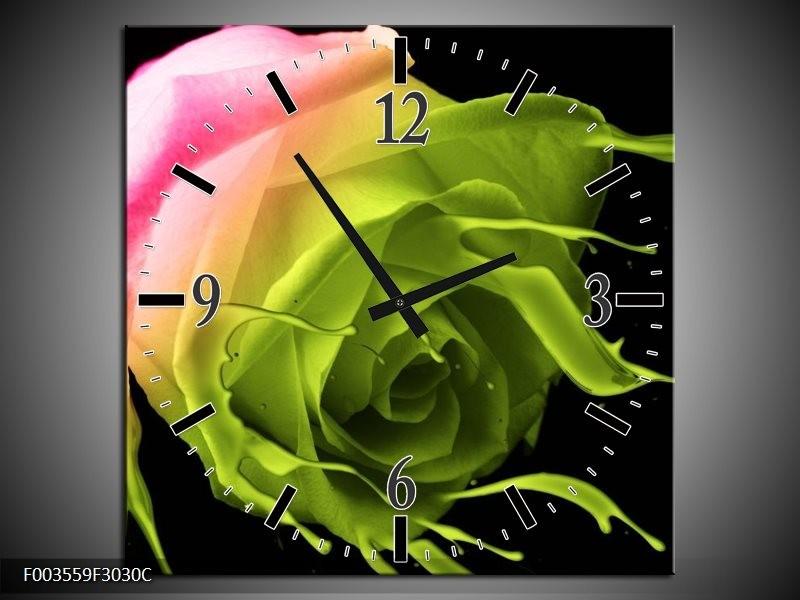 Wandklok op Canvas Roos   Kleur: Roze, Groen, Zwart   F003559C