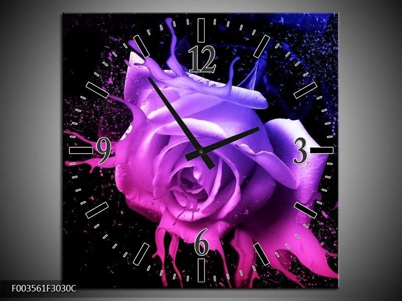 Wandklok op Canvas Roos | Kleur: Roze, Paars, Blauw | F003561C