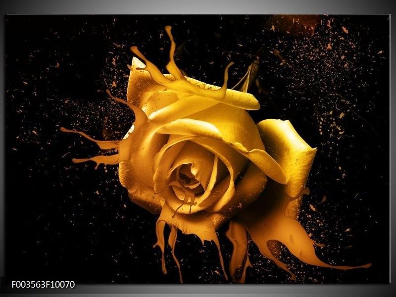Foto canvas schilderij Roos | Geel, Zwart