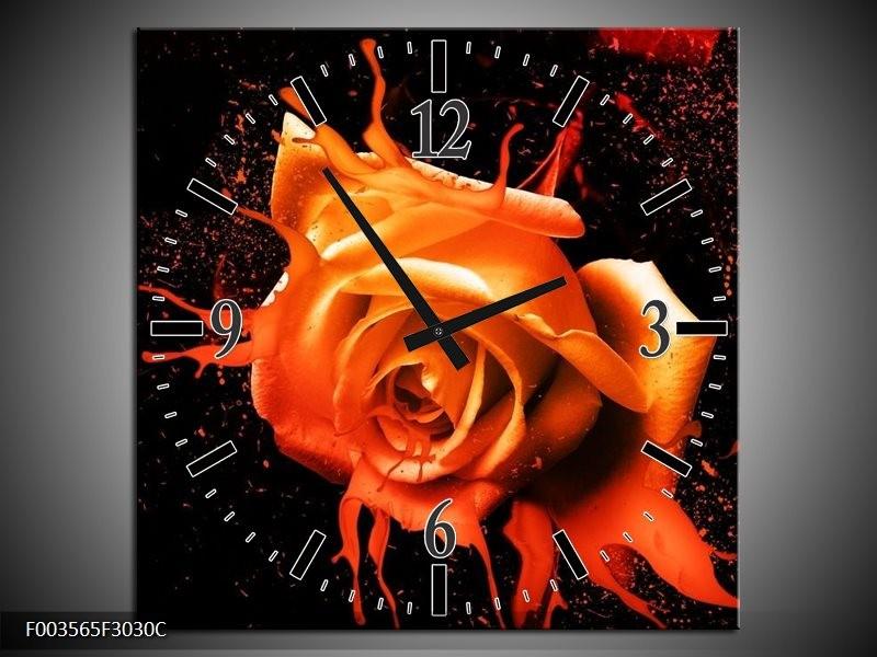 Wandklok op Canvas Roos | Kleur: Oranje, Zwart | F003565C