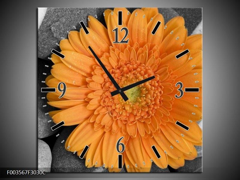 Wandklok op Canvas Bloem | Kleur: Oranje, Grijs | F003567C