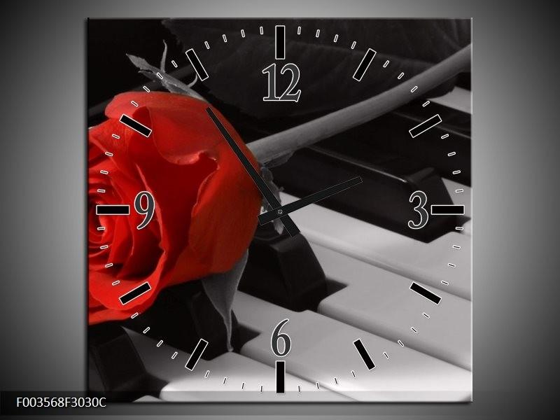 Wandklok op Canvas Roos   Kleur: Rood, Wit, Zwart   F003568C