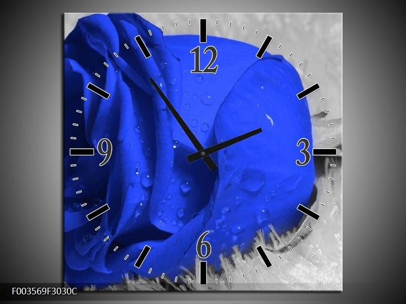 Wandklok op Canvas Roos | Kleur: Blauw, Grijs, Wit | F003569C