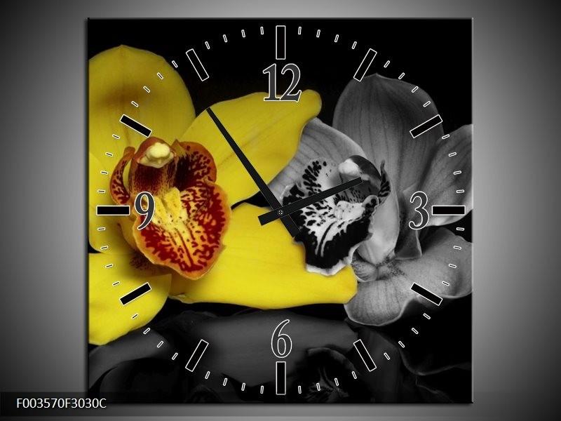 Wandklok op Canvas Orchidee | Kleur: Geel, Grijs, Zwart | F003570C